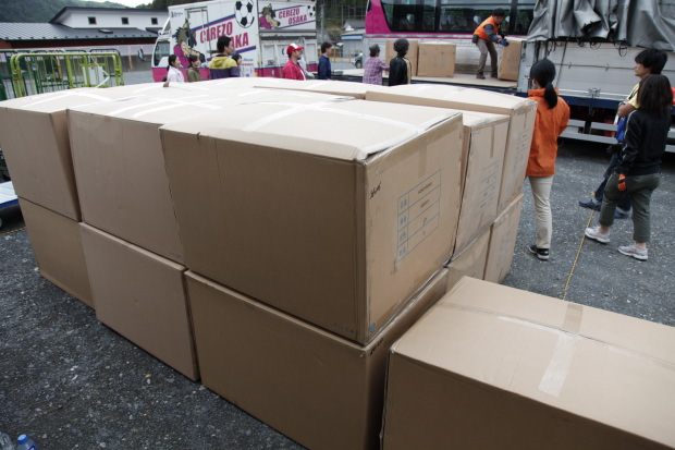 Boxes of homewares donated for the temporary housing